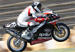 Ben Thompson crashed twice in one weekend at Infineon Raceway in the AMA Daytona SportBike Series