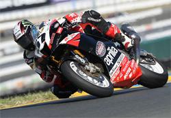 Aprilia RSV1000R rider Chaz Davies scored a fourth place finish in Saturday's Daytona SportBike race in Sonoma, California