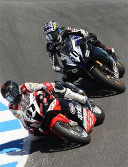 AMA Daytona SportBike Series Race hard fought battle for Factory Aprilia Millennium Technologies Team