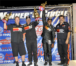 Dan Fletcher, Mike Ferderer, Greg Boutte and Steve Williams at the NHRA Finals at Auto Club Raceway in Pomona, California, courtesy of Bob Johnson Photography