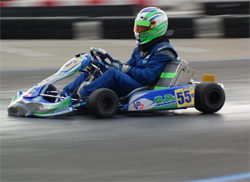 Roy Montgomery drove for FX Racing Team in the S1/G1 field at Superkarts USA ProKart opener in Fontana, California