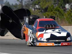 Del Worsham expertly managed to corral his 7,000 hp K&N Impala
