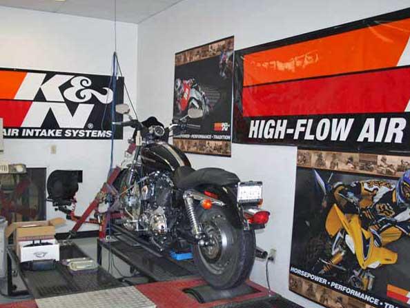 Harley Davidson on one of K&N's dynos