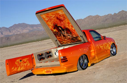 2002 Ford F-150 Lightning shows of flames, skulls and skeleton designs of Killer Paint Airbrush Artist Mike Lavallee