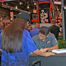 Hot Wheels designer Jerry Thienprasiddhi autograph session for K&N 1970 Plymouth Barracuda