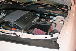 K&N air intake system 63-1114 on 2009 Dodge Challenger in K&N SEMA booth at Las Vegas Convention Center