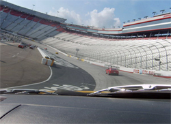 Hot Rod Power Tour driver Bob Proulx took his Firebird for five laps around the NASCAR short track on the Bristol Motor Speedway