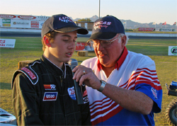 High School Sophomore Jake Swanson at the I-10 Lucas Oil Speedway in Blythe, California