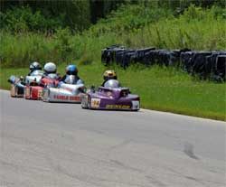 Go Kart racer Jessica Brannam moves up through the pack to eventually win the Championship Enduro Series