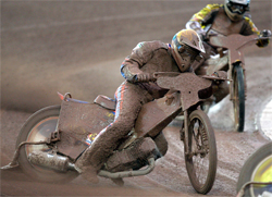Riders fought a difficult track because of wet weather and mud in the early stages of the 2009 FIM Nordicbet Scandinavian Grand Prix at Malilla in Sweden