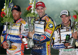 Australian Jason Crump, Poland's Tomasz Gollob and Denmark's Hans Andersen on the podium at the Scandinavian Grand Prix at Malilla in Sweden
