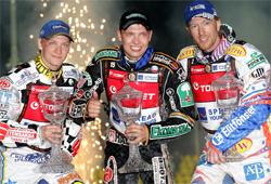 Freddie Lindgren, Emil Sajfutdinov and Jason Crump on the World Speedway Grand Prix Podium in Prague
