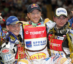 Jason Crump, center, took first place at the British Grand Prix, Sweden's Fredrik Lindgren, left, second place and Denmark's Hans Andersen, right, took third