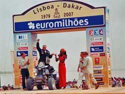 Josef Machacek on podium at 2007 Dakar Rally
