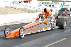 Kinard's 2006 Race Tech 565 cubic inch dragster at NHRA Lucas Oil Drag Racing Series 39th Annual Napa Auto Parts Ignitor event, photo by Rich Carlson photography