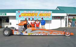 Aaron Kinard and crew in the Winner's Circle at Firebird Raceway, photo by Rich Carlson Photography