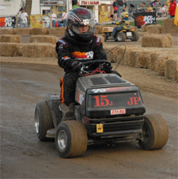 K&N sponsored lawn mower racer Katie Jones, 14,  said she likes the speed and the noise on the track