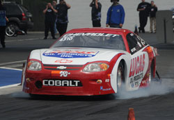 Smoking the tires on the way to an NHRA record