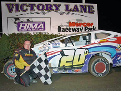 BRP Modified Tour Racer Del Rougeux took first place at Mercer Raceway Park, photo by Oyler Action Photo