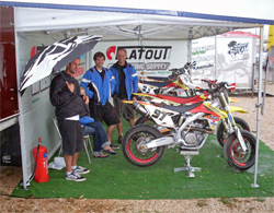 K&N supported Manteca, California team waits in the pits for Round 3 of the UEM Supermoto Championship Series about 60 miles south of Rome, Italy