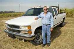 Carl Judice with his Million Mile Chevy Pickup
