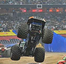 Black Stallion goes all out in wheelie competition at Reliant Stadium in Houston, Texas. photo by Kenny Lau