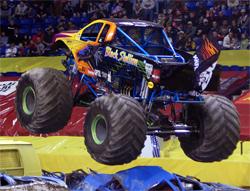 Monster Truck Black Stallion flies the K&N Flag in the Wachovia Arena