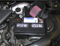 69-7001TTK K&N air intake system prototype installed in a 2007 Nissan Sentra with a 2.5 liter engine