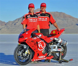 Paul Thede and Crew Chief Shaun Higinbottom at the Salts. Thede rode his Race Tech FL Honda CBR 600RR with K&N air and oil filters to a new record in the 650cc MPS/F class of 195.604 mph on a normally aspirated motor.