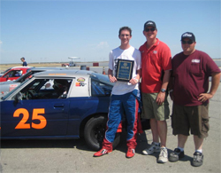 Jacob (left), Richard Pearlman (center) and Crew Chief Kyle Eggleton (right) with Pearlman Motor Racing Mazda RX-7