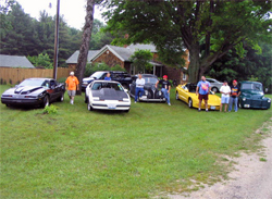 A few of the participants take a break in Michigan on the Hot Rod Power Tour