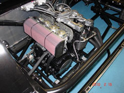Yamaha motorcycle engine equipped with K&N filter produces 150hp
