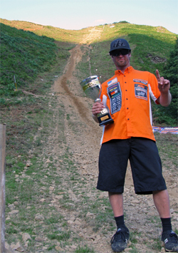 Robie Peterson holds his King of the Hill Trophy at the Hillclimb World Trophy Event in France