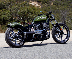 Bombs Away is a Harley Davidson Softail Standard modified by Roland Sands Design