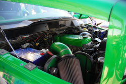 K&N air intake kit, painted by the owner to match his show vehicle, installed on award winning Dodge Ram 4X4