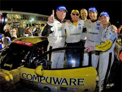 Johnny O'Connell, Jan Magnussen and Ron Fellows win GT1 Class Victory at Sebring, photo courtesy of Richard Prince Photography