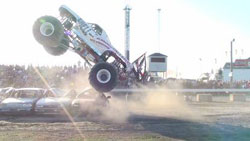The Shell-Camino Monster Truck devours hapless obstacles much to the delight of the many fans.