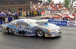 Allen Johnson and Greg Anderson in the K&N Horsepower Challenge Final at NHRA Summit Racing Equipment Nationals