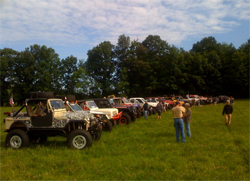 Off road rigs line up to began the Ultimate Adventure Four Wheeling Road Trip