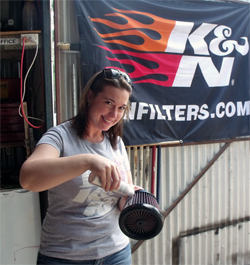 K&N is the filter of choice for Wendy Mathis Racing, on and off the track