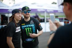 Vaughn Gittin Jr. posing with a fan