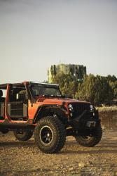 Three-quarters view of the Jeep Wrangler