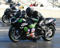 A K&N-equipped Kawasaka ZX-14 drag bike