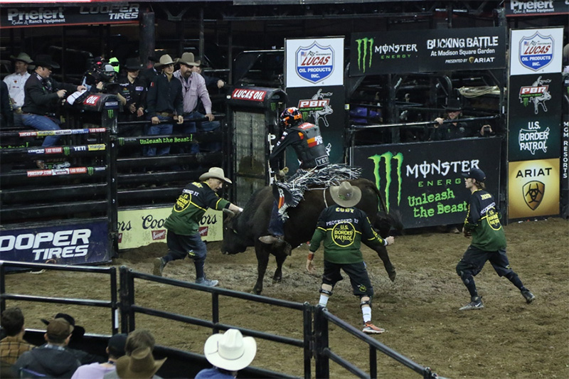 K&N-sponsored athlete Cody Teel competing at the PBR opening event at Madison Square Garden