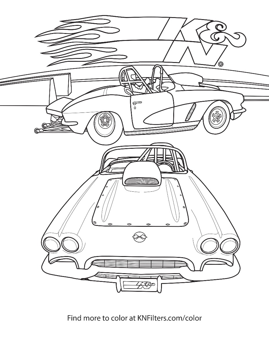 coloring book page for kids rally car